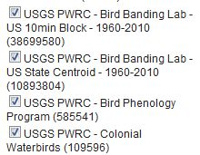 USGS PWRC bird datasets and record counts.